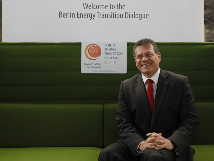 Maros Sefcovic, Commission Vice-President for Energy sits on the green sofa symbol of the Berlin Energy Transition Dialogue Meeting in Federal German Foreign Office (Auswaertiges Amt) , in Berlin, Germany on Tuesday, March 17, 2018.