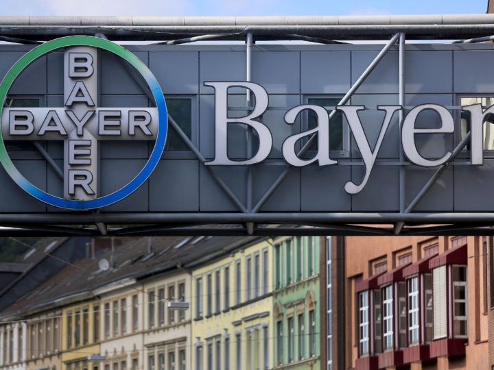epa05542070 A Bayer logo at the facade of a pedestrian bridge in front of the factory of Bayer corporation in Wuppertal, Germany, 16 September 2016. The German chemical giant and its rival US Monsanto in a statement released 14 September 2016 said they had signed a definite merger agreement. Bayer and Monsanto said  Bayer will acquire Monsanto for 128 USD per share in an all-cash transaction as part of a deal that amounts to some 66 billion USD. It is the largest such deal ever involving a German company as a buyer. The takeover would create a global market leader that would have more than 25 per cent of global pesticides and seeds market.  EPA/OLIVER BERG