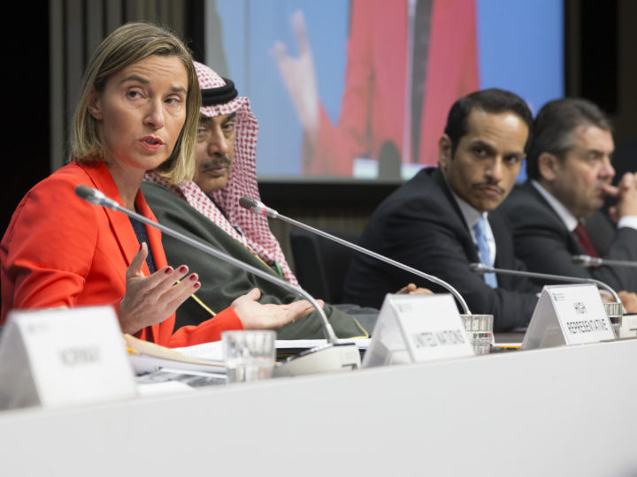 epa05889948 EU High Representative for Foreign Affairs Federica Mogherini (L) and other Foreign ministers during a press briefing at the 'supporting the future of Syria and the region conference' in Brussels, Belgium, 05 April 2017. Supporting the future of Syria is a two-day event, ministerial representatives from 70 delegations, including from the EU and the region but also the wider international community, the United Nations, major donors and civil society, humanitarian and development organisations, the conference will address the situation in Syria and the impact of the crisis in the region.  EPA/OLIVIER HOSLET