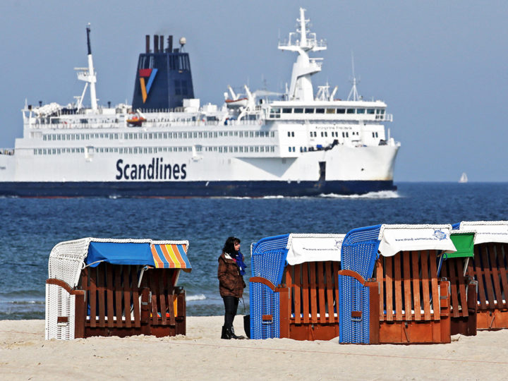 epa06014755 (FILE) - A ferry ship of Scandlines passes the Baltic sea beach near Rostock-Warnemuende, Germany, 23 March 2015 (reissued 07 June 2017). According to reports, Scandlines on 07 June 2017 reported it was evacuating all its ferries in Danish town Rodby due to a telephone threat and has suspended all services.  EPA/BERND WUESTNECK  GERMANY OUT