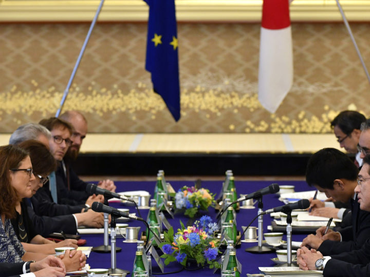 epa06057488 European Commissioner for Trade Cecilia Malmstrom (L) listens to Japanese Foreign Minister Fumio Kishida (R) at the start of their meeting as a part of the Japan-EU Economic Partnership Agreement negotiations at Iikura guest house in Tokyo, Japan, 30 June 2017.  EPA/FRANCK ROBICHON / POOL