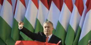 epa06650548 President of the ruling Fidesz party, Prime Minister Viktor Orban waves as he attends the final electoral rally of Fidesz in Szekesfehervar, some 63km southwest of Budapest, Hungary, 06 April 2018. Hungary will hold its general election on 08 April.  EPA-EFE/ZSOLT SZIGETVARY HUNGARY OUT