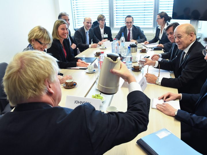 epa06672579 Germany's Foreign Minister Heiko Maas (C), Britain's Foreign Secretary Boris Johnson (front, back to camera), France's Foreign Minister Jean-Yves Le Drian (R) and EU foreign policy chief Federica Mogherini (2-L, back) meet before the Foreign Affairs Council in Luxembourg, 16 April 2018. Foreign Ministers will discuss the situation in Syria and exchange views on Russia. They will also discuss the latest developments in the aftermath of the Salisbury attack.  EPA-EFE/EMMANUEL DUNAND / POOL