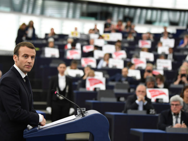 epa06674185 French President Emmanuel Macron delivers his speech at the European Parliament in Strasbourg, France, 17 April 2018. Macron is in Strasbourg to debate the future of the European Union with the Members of Parliament.  EPA-EFE/PATRICK SEEGER