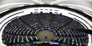 epa06674677 A general view shows the European Parliament in Strasbourg, France, 17 April 2018. French President Emmanuel Macron delivered on the dayt a speech about the future of the European Union with the Members of Parliament.  EPA-EFE/PATRICK SEEGER