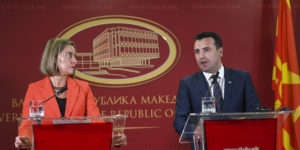 epa06677515 Macedonian Prime Minister Zoran Zaev (R) with European Union foreign policy chief Federica Mogherini (L) attend a press conference in Skopje, The Former Yugoslav Republic of Macedonia (FYROM) 18 April 2018. Mogherini arrived in Skopje after the European Commission recommended the opening of negotiations with FYROM for its integration in the EU.  EPA-EFE/GEORGI LICOVSKI