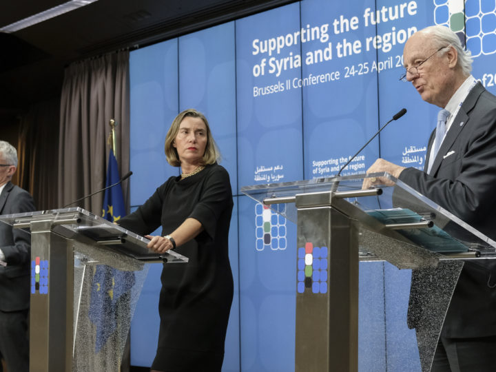 epa06691837 European Union (EU) Foreign Policy Chief Federica Mogherini (C), United Nations (UN) Special Envoy for Syria Staffan de Mistura (R) and UN Under-Secretary General for Humanitarian Affairs and Emergency Relief Coordinator Mark Lowcock (L) give a press conference to present first results of conference on 'Supporting the future of Syria and the region' at EU council headquarters, in Brussels, Belgium, 25 April 2018.  EPA-EFE/OLIVIER HOSLET