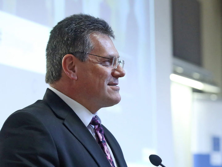 "Maros Sefcovic, Vice-President of the European Commission speeks during Citizens' Dialogue – ""European Energy Union: what does it mean for you and for Croatia?"" in Faculty of Economics and Business in Zagreb, Croatia, 30. January 2018."