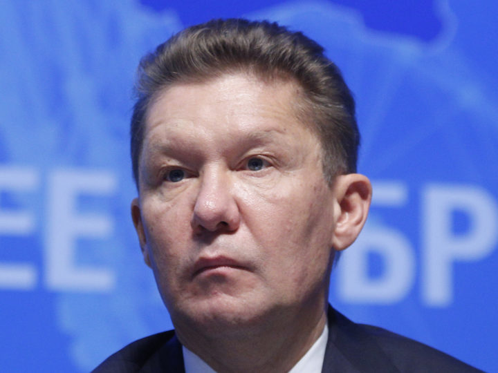 epa06057317 Chairman of Gazprom management Committee Alexei Miller attends an annual Gazprom shareholders meeting in Moscow, Russia, 30 June 2017. Russian energy giant Gazprom reported annual achievements for its shareholders.  EPA/SERGEI CHIRIKOV