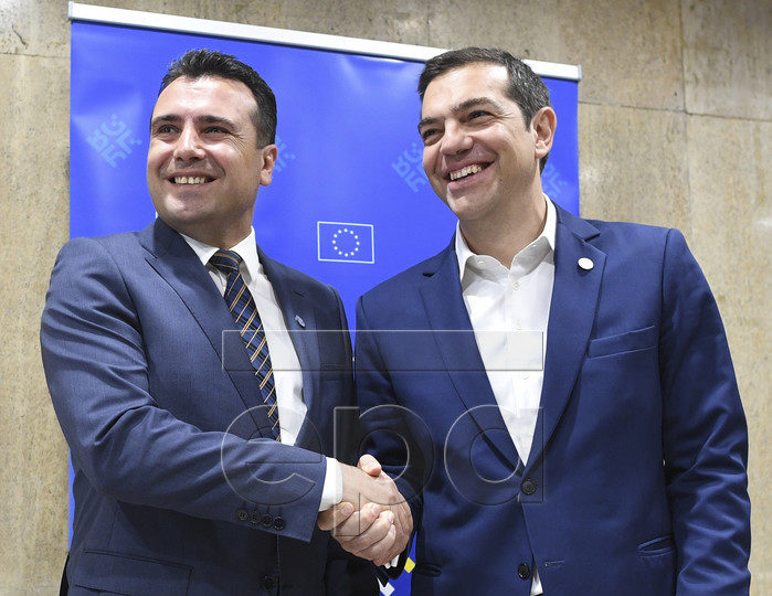 epa06743706 Greek's Prime Minister Alexis Tsipras (R) and FYR of Macedonian Prime Minister Zoran Zaev meet on the sideline of an informal European Union (EU) summit with Western Balkans countries at the National Palace of Culture in Sofia, Bulgaria, 17 May 2018.  EPA-EFE/VASSIL DONEV