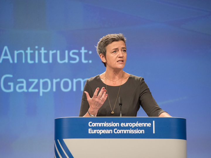 Commissioner Vestager is addressing the press about the decision of EU to not sanctions GAZPROM
