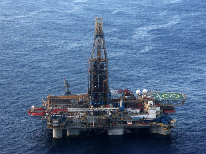 epa03010734 An aerial view from a helicopter of the Homer Ferrington rig operated by Noble Energy in the east Mediterranean, drilling in an offshore block on concession from the Cypriot government, 21 November 2011. Houston-based Noble started drilling for gas off Cyprus in September, in the island's first attempt to tap speculated offshore hydrocarbons deposits. Cypriot President Demetris Christofias visited the rig, which started drilling for gas on 21 November.  EPA/STR