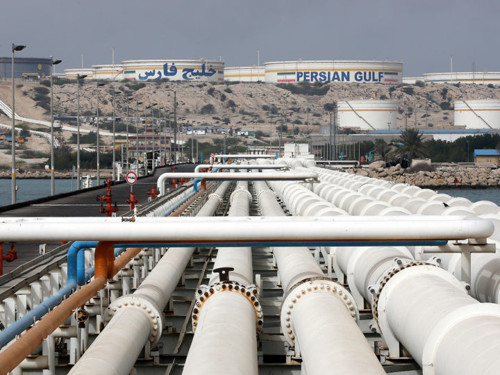 epa05844549 A general view of the Kharg oil terminal at the Kharg Island, in Persian Gulf, southern Iran, 12 March 2017. According to estimates, Kharg oil terminal handles 98 per cent of Iran's crude exports.  EPA/ABEDIN TAHERKENAREH