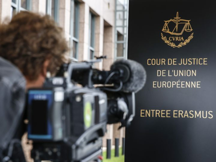 epa06187084 (FILE) - A cameraman films the logo of the European Court of Justice (ECJ) in Luxembourg, 05 October 2015 (reissued 06 September 2017). The ECJ on 06 September 2017 upheld the decision by the European Union (EU) to force member states to take in a quota of asylum seekers. It dismissed complaints by Hungary and Slovakia and said the EU had the right to order governments in this matter. A provisional mechanism for the mandatory relocation of asylum seekers was applied in 2015 to relocate refugees - mainly from Syria - arriving in Greece and Italy to other EU member states.  EPA-EFE/JULIEN WARNAND