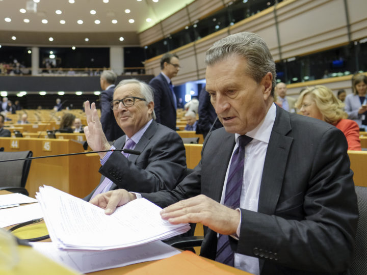 epa06706418 EU commission President Jean-Claude Juncker and EU Budget Commissioner, German,  Gunther Oettinger (R) during a mini plenary session at European Parliament, in Brussels, Belgium, 02 May 2018. Budget Commissioner Gunther Oettingerwill unveil his proposal for the EU?s long-term budget ? the Multiannual Financial Framework, post Brexit , which will run from 2021 to 2027.  EPA-EFE/OLIVIER HOSLET