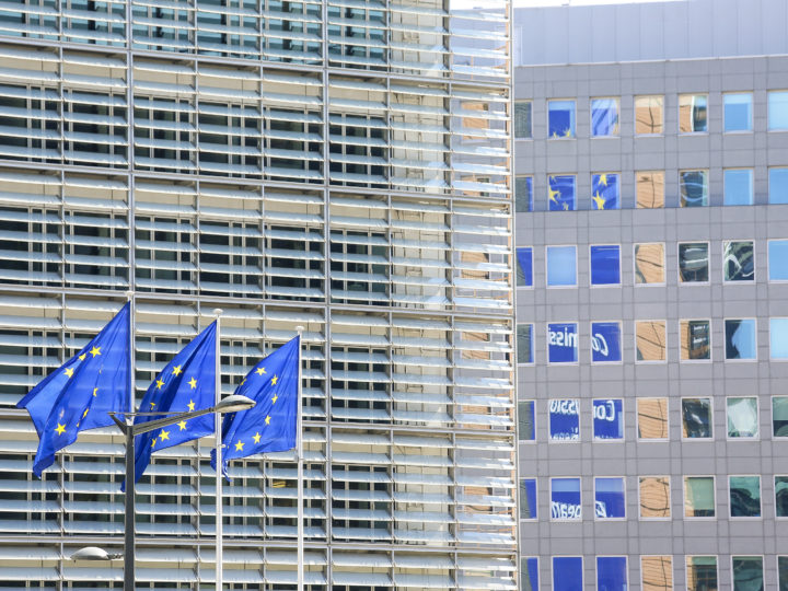 epa06712509 European Union flags fly near the seat of the European Commission at the Berlaymont building in Brussels, Belgium, 05 May 2018.  EU institutions in Brussels opened their doors to the public on 05 May to celebrate 'Europe Day'.  EPA-EFE/JULIEN WARNAND