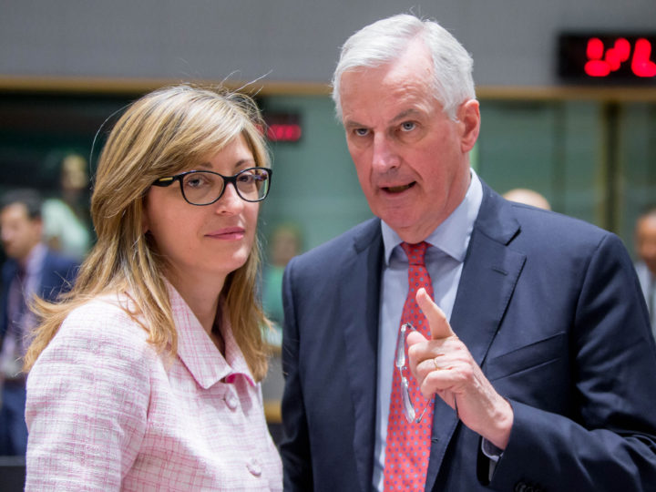 epa06735992 EU Brexit European Commission's Chief Negotiator Michel Barnier (R) and Ekaterina Zaharieva (L) Minister of Foreign Affairs of the Republic of Bulgaria attend the General Affairs Council (Art. 50) meeting in Brussels, Belgium, 14 May 2018. General Affairs Council (Art. 50) meeting is about the state of play of Brexit negotiations.  EPA-EFE/STEPHANIE LECOCQ
