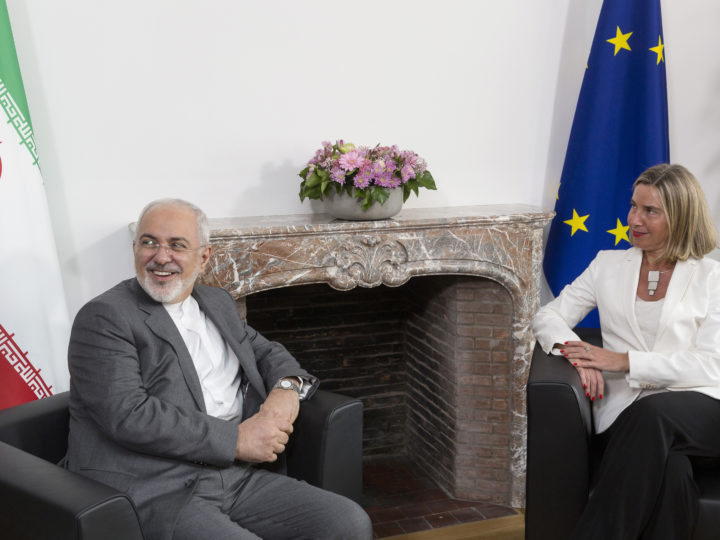 epa06737730 Mohammad Javad Zarif (L) the Foreign Minister of Iran during a meeting with European Union Foreign Policy Chief Federica Mogherini in Brussels, Belgium, 15 May 2018.  Media reports state that Javad Zarif is in Brussels asking for the EU's support for 2015 nuclear between Tehran and six world powers folowing the USA withdrawal from the agreement.  EPA-EFE/THIERRY MONASSE / POOL
