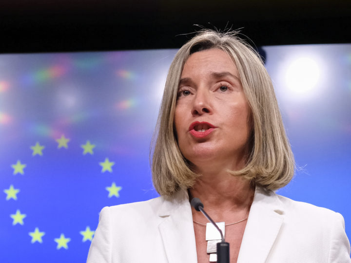 epa06738538 European Union Foreign Policy Chief Federica Mogherini reacts to Question on Iran Nuclear deal, during a news conference in Brussels, Belgium, 15 May 2018. This evening, High Representative is convening a meeting with the E3 Foreign Ministers (Heiko Maas, Foreign Minister of Germany, Jean-Yves Le Drian, Foreign Minister of France and Boris Johnson, Foreign Minister of the United Kingdom), followed by a meeting of the four with the Foreign Minister of Iran, Mohammad Javad Zarif.  EPA-EFE/OLIVIER HOSLET