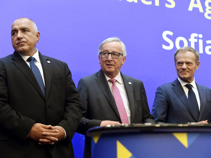 epa06744824 (L to R) Prime Minister of Bulgaria Boyko Borissov, President of the European Council Donald Tusk and President of the European Commission Jean-Claude Juncker speak during a joint news conference at the EU-Western Balkans Summit meeting at the National Palace of Culture, in Sofia, Bulgaria, 17 May 2018. EU leaders met for a two-days summit to discuss a European future for Western Balkans, and the response to President Trump's policies on trade and Iran.  EPA-EFE/Szilard Koszticsak HUNGARY OUT