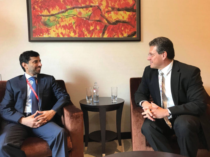 UAE Minister of Energy and Industry Suhail Al Mazrouei and European Commission Vice President for Energy Union Maroš Šefčovič in Bratislava, May 18, 2018. OFFICE OF MAROS SEFCOVIC