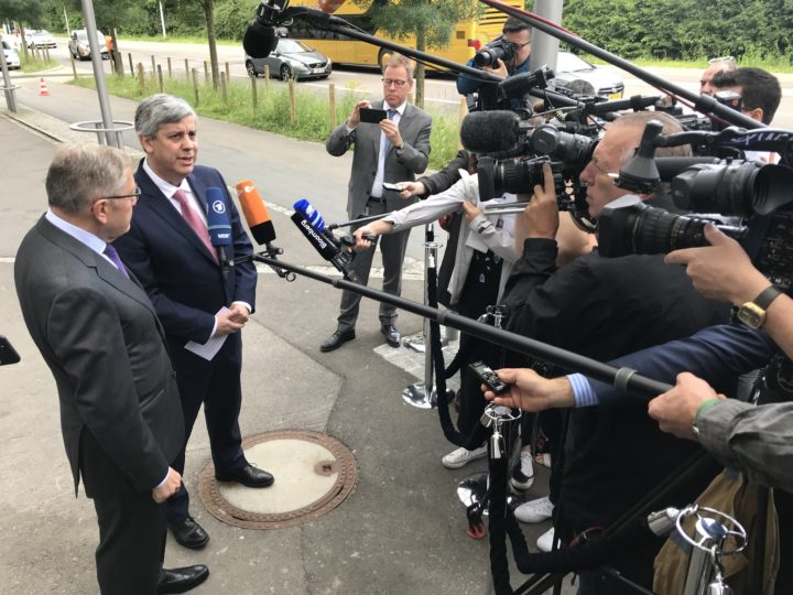 Arrival and doorstep by Mario CENTENO, Chair of the ESM Board of Governors and Eurogroup President, and Klaus REGLING, Managing Director of the ESM, at the annual ESM Board of Governors meeting, taking place on 21 June 2018, in Luxembourg.