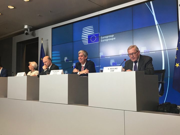 IMF Managing Director Christine Lagarde, EU Commissioner Pierre Moscovici, Eurogroup president Mario Centeno and ESM Managing Director Klaus Regling speaks at Eurogroup press in Luxembourg about the conclusion on Greece, 22 June 2018.