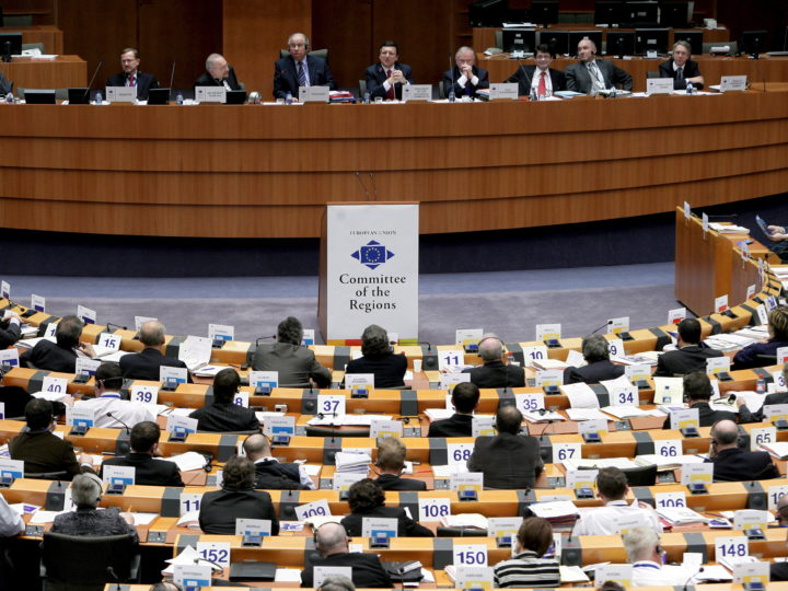 epa01246837 An illustration picture of the plenary session of the  European committee of the Regions in Brussels, Belgium, 06 February 2008. The Committee of the Regions (CoR) is the political assembly that provides local and regional authorities with a voice at the heart of the European Union. Established in 1994, the CoR was set up to address two main issues. Firstly, about three quarters of EU legislation is implemented at local or regional level, so it makes sense for local and regional representatives to have a say in the development of new EU laws. Secondly, there were concerns that the public was being left behind as the EU steamed ahead. Involving the elected level of government closest to the citizens was one way of closing the gap.  EPA/OLIVIER HOSLET