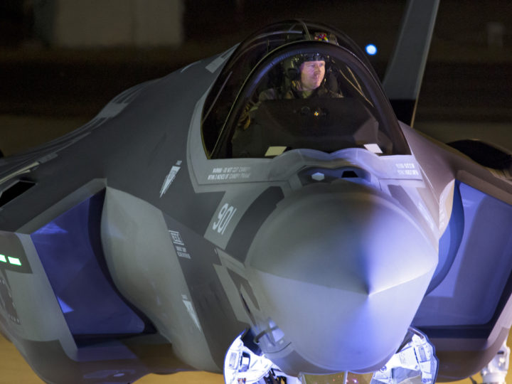 epa05673102 An US pilot taxis one of two F-35 Adir stealth jet fighters as they land at the Nevatim Air Force Base in the Negev desert, south of Beersheba, Israel, 12 December 2016. Two F-35 jets, nicknamed Adir or 'Mighty' are part of Israel's plans to acquire 50 planes by 2022.  EPA/JIM HOLLANDER