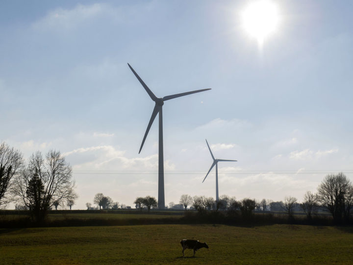 epa05727809 A general view for wind turbines in Montplaisir, south western France, 18 January 2017. The French Minister of the Environment Segolene Royal announced that France will not be affected by electricity cuts, despite the wave of severe cold and the unavailability of six nuclear reactors, thanks to renewable energies, wind turbines and solar energy will produce the equivalent of eight nuclear reactors, eight gigawatts.  EPA/CAROLINE BLUMBERG