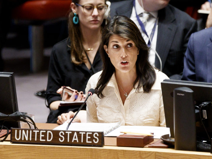 epa06739189 Nikki Haley, the United StatesÕ Permanent Representative to the United Nations, speaks during an United Nations Security Council meeting in response to the violence at the border between Gaza and Israel at United Nations headquarters in New York, New York, USA, 15 May 2018.  EPA-EFE/JUSTIN LANE