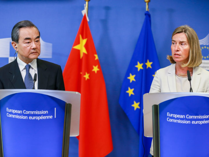 epa06777267 China's Foreign Minister Wang Yi (L) and Federica Mogherini, High Representative of the EU for Foreign Affairs and Security Policy hold a joint press conference at the European Commission in Brussels, Belgium, 01 June 2018.  EPA-EFE/STEPHANIE LECOCQ