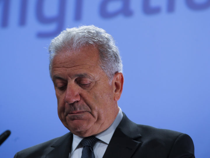 epa06826552 EU Commissioner for migration and home affairs Dimitris Avramopoulos arrives to give a press conference in Brussels, Belgium, 21 June  2018.  Dimitris Avramopoulos spoke to the press ahead to the informal working heads of states meeting on migration and asylum issues in Brussels on 25 June 2018, in order to work with a group of Heads of State or Government of Member States interested in finding European solutions ahead of the upcoming European Council.  EPA-EFE/OLIVIER HOSLET