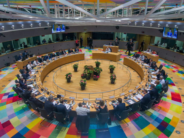 epaselect epa06847620 A general view at the start of an European Council summit in Brussels, Belgium, 28 June 2018. EU countries' leaders meet on 28 and 29 June for a summit to discuss migration in general, the installation of asylum-seeker processing centers in northern Africa, and other security- and economy-related topics including Brexit.  EPA-EFE/STEPHANIE LECOCQ / POOL