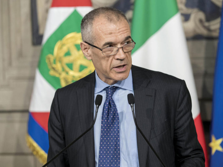 Carlo Cottarelli had been tapped to serve as prime minister by President Sergio Mattarella after the latter vetoed the 5-Star/Lega alliance's choice of an anti-Eurozone candidate to serve in the incoming cabinet, the Quirinal Palace in Rome, May 28, 2018. EPA-EFE/QUIRINALE PALACE/FRANCESCO AMMENDOLA