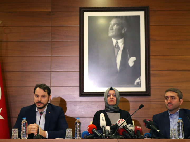 epa05843805 Turkish Energy Minister Berat Albayrak (L),  Turkish Family Minister Fatma Betul Sayan Kaya (C)  and AK Party provincial chairman Selim Temurci speak to media after Kaya arrved back from the Netherlands, at Ataturk airport in Istanbul, Turkey, 12 March 2017. Kaya was barred by police from entering the Turkish consulate in Rotterdam on 11 March, after the Dutch government had denied landing rights to Turkish Foreign Minister Cavusoglu who planned a speech at the consul's residence in Rotterdam. The incidents have led to a diplomatic row between the two countries, and protests by Turkish citizens in the Netherlands as well as in Turkey.  EPA/SEDAT SUNA