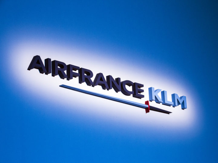 epa06738698 The logo of Air France-KLM is displayed during company shareholders General Assembly in Paris, France, 15 May 2018.  EPA-EFE/ETIENNE LAURENT