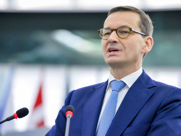 epa06863202 A handout photo made available by the European Parliament on 04 July 2018 shows Polish Prime Minister Mateusz Morawiecki delivering a speech on the Future of Europe at the European Parliament in Strasbourg, France, 04 July 2018.  EPA-EFE/MARC DOSSMANN / EUROPEAN PARLIAMENT HANDOUT HANDOUT  HANDOUT EDITORIAL USE ONLY/NO SALES