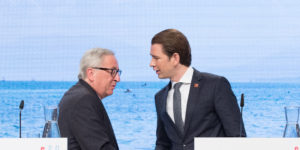 epa06867524 EU commission President Jean-Claude Juncker (L) and Austrian Chancellor Sebastian Kurz (R), during a press statement at the Austria Center Vienna (ACV) in Vienna, Austria, 06 July 2018. The College of Commissioners pay an official visit to Vienna to mark the beginning of the Austrian Presidency of the Council of the European Union. Austria took over its first Presidency of the European Council from Juli 2018 until December 2018.  EPA-EFE/FLORIAN WIESER
