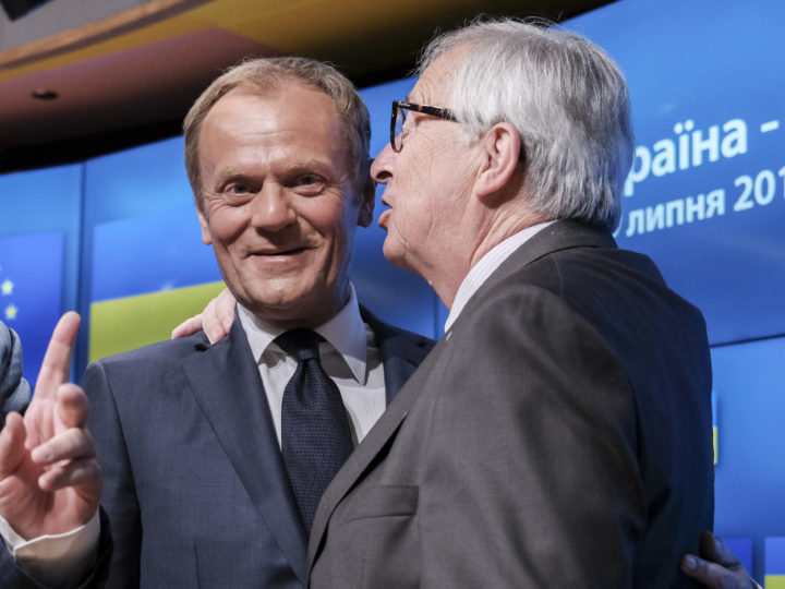 epa06875732 European Union Council President Donald Tusk (L) and European commission President Jean-Claude Juncker (R) during a news conference with President of Ukraine Petro Poroshenko, (not pictured) in Brussels, Belgium, 09 July 2018. Donald Tusk gave EU leaders reaction to British Foreign Affairs ministers Borris Johnson resignation following the resignation of United Kingdom's Secretary of State for Exiting the European Union, David Davis the previous day.  EPA-EFE/OLIVIER HOSLET