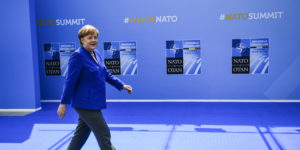 epa06880409 German Chancellor Angela Merkel arrives for a NATO Summit in Brussels, Belgium, 11 July 2018. NATO countries' heads of states and governments gather in Brussels for a two-day meeting.  EPA-EFE/CHRISTIAN BRUNA