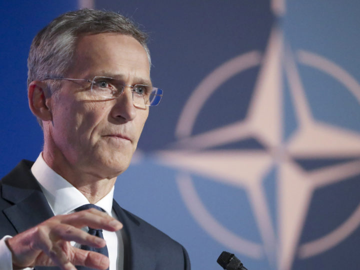 epa06880826 NATO Secretary General Jens Stoltenberg gives a press conference at the end of the North Atlantic Council during a NATO Summit in Brussels, Belgium, 11 July 2018. NATO member countries' heads of states and governments gather in Brussels on 11 and 12 July 2018 for a two days meeting.  EPA-EFE/TATYANA ZENKOVICH