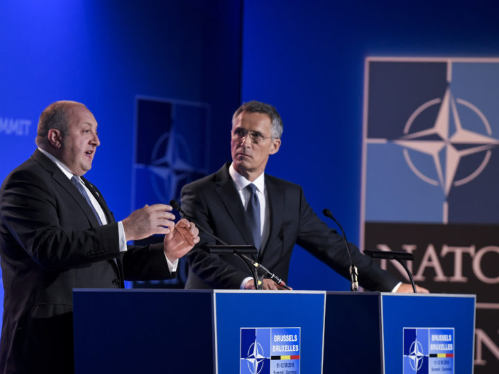 epa06882590 President of Georgia Giorgi Margvelashvili (L) and NATO Secretary General Jens Stoltenberg (R) deliver a press statement during a two days NATO summit at NATO headquarters in Brussels, Belgium, 12 July 2018. NATO countries' heads of states and governments gather in Brussels for a two-days meeting.  EPA-EFE/CHRISTIAN BRUNA