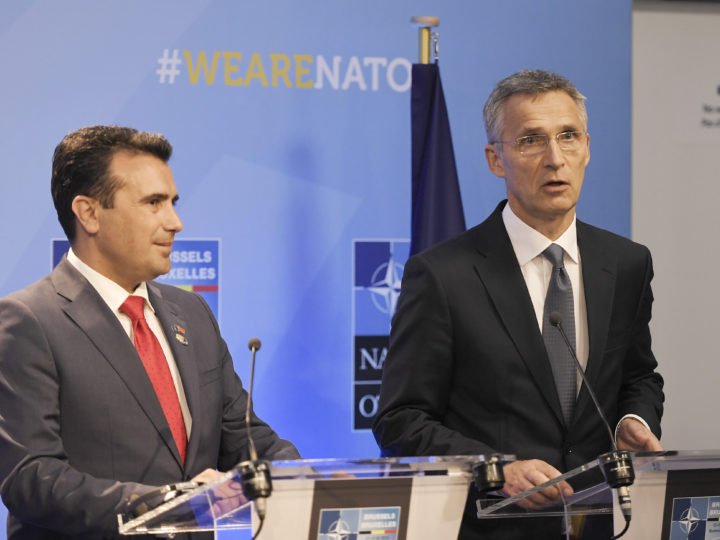 epa06883607 NATO Secretary General Jens Stoltenberg and Prime Minister of the Former Yugoslav Republic Of Macedonia (FYROM), Zoran Zaev (L) during signature of an agreement on the sidelines of the NATO Summit in Brussels, Belgium, 12 July 2018. NATO member countries' heads of states and governments gather in Brussels on 11 and 12 July 2018 for a two days meeting.  EPA-EFE/CHRISTIAN BRUNA