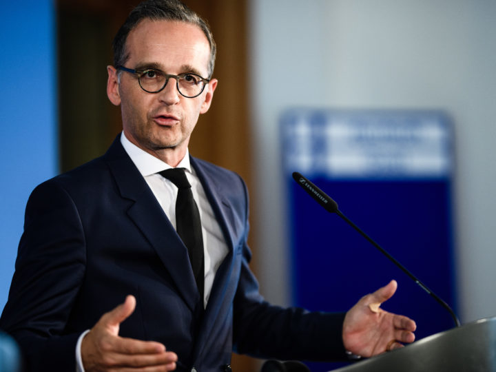 epa06906241 German Foreign Minister Heiko Maas during a joint press conference with Italian Minister of Foreign Affairs and International Cooperation Enzo Moavero Milanesi (not in the picture) after their meeting in Berlin, Germany, 23 July 2018. German Foreign Minister Heiko Maas and Italian Minister of Foreign Affairs and International Cooperation Enzo Moavero Milanesi met for bilateral talks.  EPA-EFE/CLEMENS BILAN