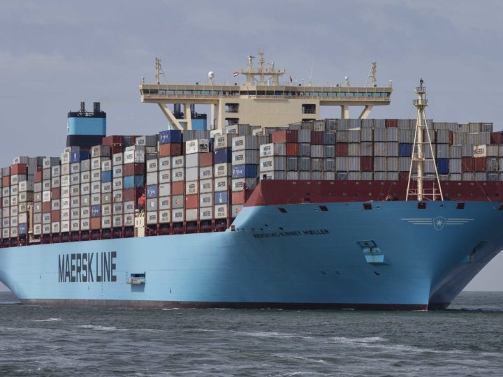 epa06906029 (FILE) - The world's biggest container ship, named the Maersk MC-Kinney Moller arrives at the port of Rotterdam, The Netherlands, 16 August 2013 (re-issued 23 July 2018). Reports on 23 July 2018 state Maersk, the largest shipping company in the world, may be targeted by hedge funds betting against it amid growing fears of a global trade war. Maersk is speculated of being vulnerable to rising tensions in global trade, while at the same time it is suffering from rising fuel costs and lower income in 2018 from freight business when compared with figures from 2017.  EPA-EFE/JERRY LAMPEN