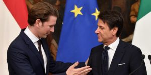 epa07029498 Italian Prime Minister Giuseppe Conte (R) and Austrian Chancellor Sebastian Kurz (L) at the end of a joint news conference following their meeting at Chigi Palace in Rome, Italy, 18 September 2018.  EPA-EFE/ETTORE FERRARI