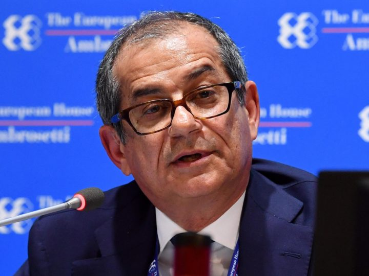 epa07007786 Italian Minister of Economy and Finance Giovanni Tria delivers a speech at an event within the Forum The European House - Ambrosetti, in Cernobbio, Italy, 09 September 2018. The 44th edition of the forum with its title 'Intelligence on the World, Europe, and Italy' is held from 07 to 09 September and gathers heads of state and government, top representatives of European institutions, ministers, Nobel prize winners, businessmen, managers and experts from around the world to discuss global political and economical topics.  EPA-EFE/DANIEL DAL ZENNARO