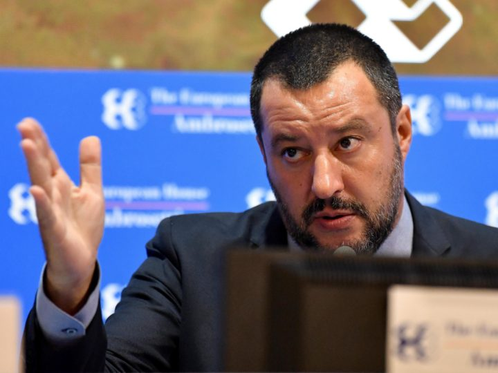 epa07005272 Italian Interior Minister Matteo Salvini delivers a speech at the Ambrosetti Economical Forum in Cernobbio, Italy, 08 September 2018. Others are not identified. The 44th edition of the forum with its title 'Intelligence on the World, Europe, and Italy' is held from 07 to 09 September and gathers heads of state and government, top representatives of European institutions, ministers, Nobel prize winners, businessmen, managers and experts from around the world to discuss global political and economical topics.  EPA-EFE/DANIEL DAL ZENNARO