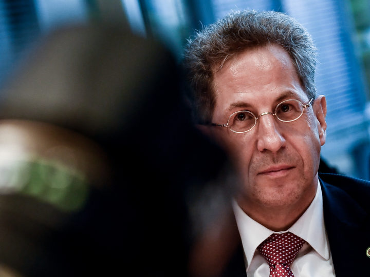 epa07015259 Hans-Georg Maassen, President of the German Federal Office for the Protection of the Constitution prior to Committee on Home Affairs at the Bundestag in Berlin, Germany, 12 September 2018. The German domestic intelligence chief Maassen is under pressure by several politicians for denying far-right extremists had 'hounted' foreigners at Chemnitz protests.  EPA-EFE/FILIP SINGER